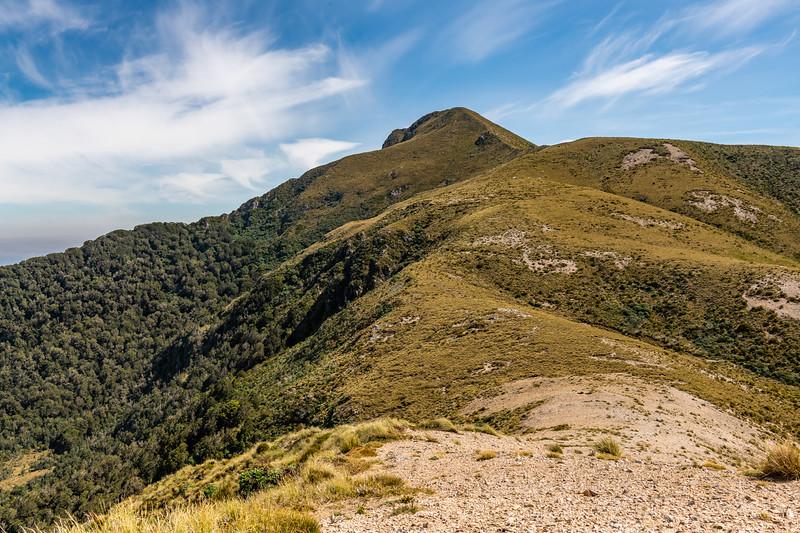 The summit ridge of Treble Mountain from the north, Dark Cloud Range.