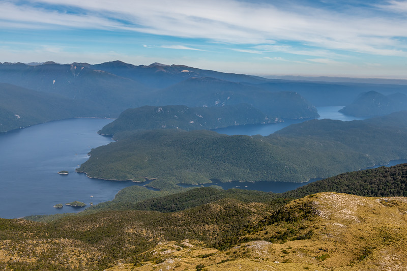 View south-east from Treble Mountain across Long Sound, Isthmus Sound and Useless Bay