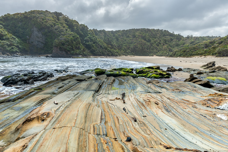 Rock formations at the mouth of Sealers No 2 Creek. Sealers Bay, Fiordland National Park.