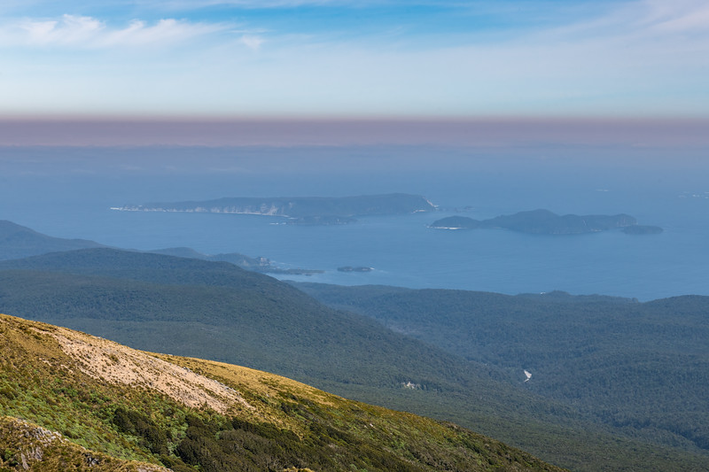 Chalky Island and Passage Islands from Treble Mountain, Dark Cloud Range.