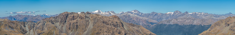 Panorama from Pt 1507m, looking east. Skippers Range, Fiordland National Park.