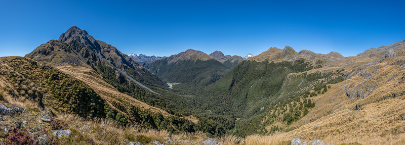 Looking south-east from the southern slopes of Pt 1366m, Skippers Range. Fiordland National Park.