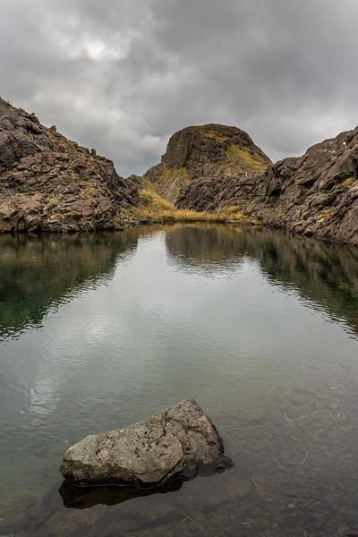 Tarn on Pt 1552m. Skippers Range, Fiordland National Park.