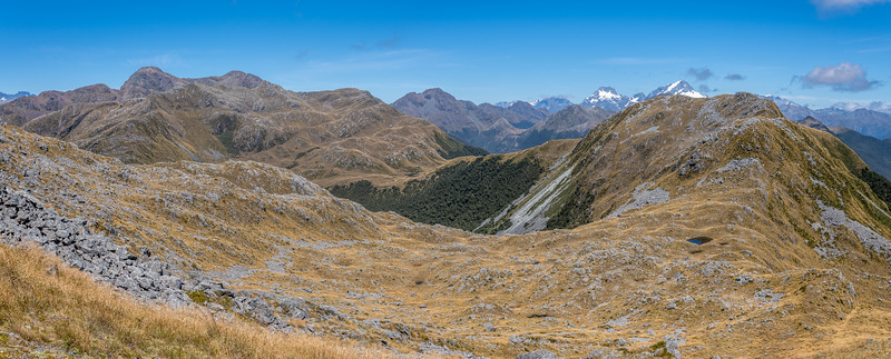 View south along the Skippers Range. Pt 1298m is just right of Mount Tutoko. The Skippers Range High Point (Pt 1648m) is on the far left. Pt 1620m is further back at centre image. Fiordland National Park.