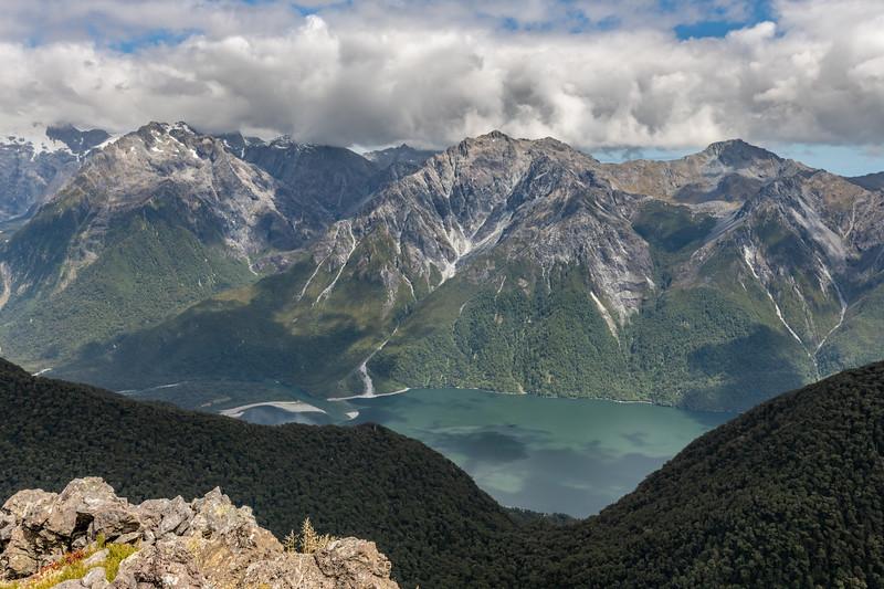 Puketuroto Peak, Mount Thunder and Lake McKerrow from Pt 1307m. Skippers Range, Fiordland National Park.
