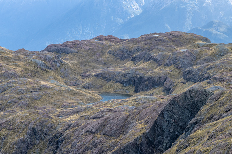 The alpine plateau south of Pt 1552m. Skippers Range, Fiordland National Park.