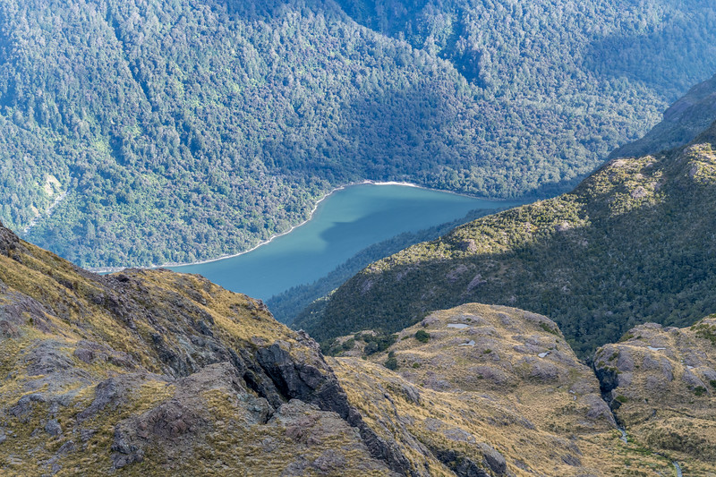 Looking down onto Lake Alabaster from Pt 1445m. Skippers Range, Fiordland National Park.