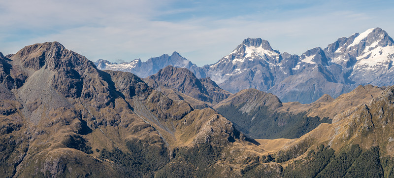 Looking south-west over the Skippers Range from Pt 1401m. From left to right are Pt 1620m, Mount Te Wera, Mount Madeline and Mount Tutoko. Fiordland National Park.