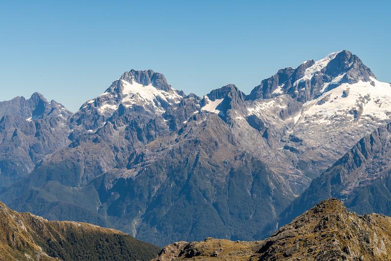 Mount Te Wera, Mount Madeline, Alice Peak and Mount Tutoko from pt 1507m. Skippers Range, Fiordland National Park.