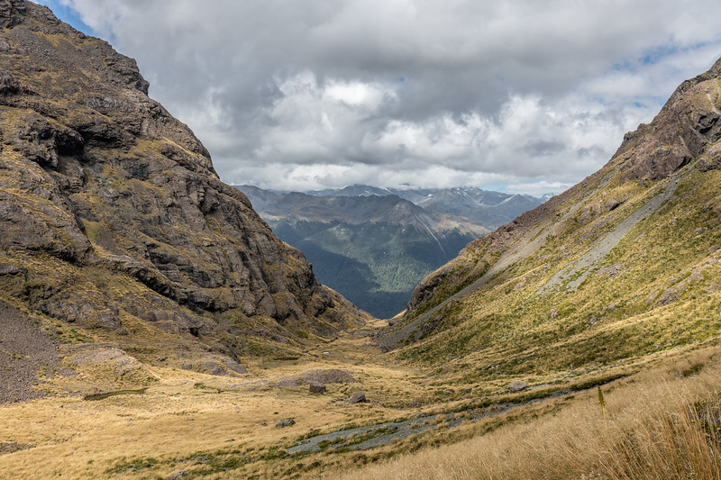 Looking down the Hanging Valley feeding into Lake Speden. Skippers Range, Fiordland National Park.