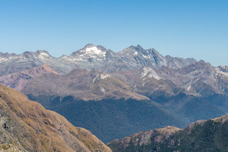 Tantalus Peak, Niobe Peak, Poseidon Peak and Barrington Peak from Pt 1507m. Skippers Range, Fiordland National Park.