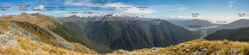 Panorama from Pt 1298m, Skippers Range. Fiordland National Park.