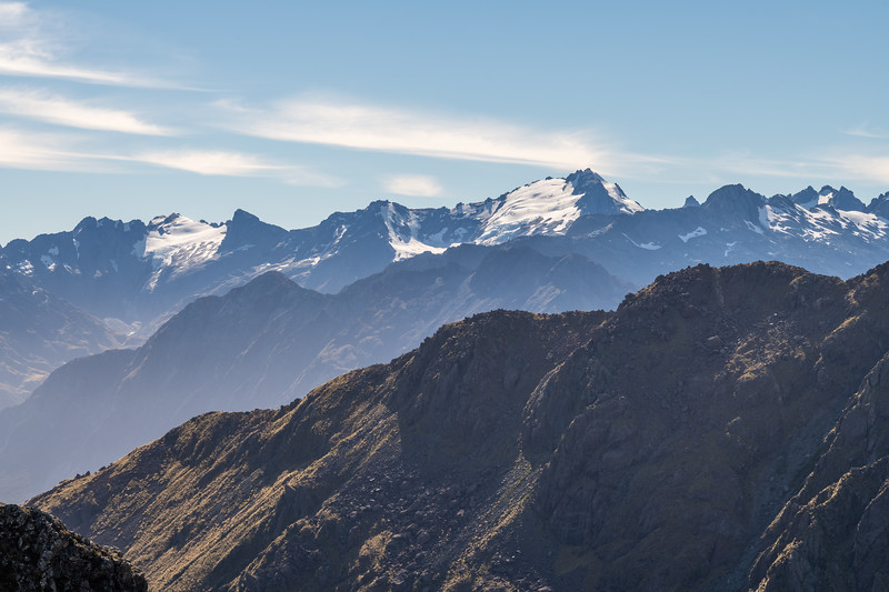 The Olivines from Pt 1401m, Skippers Range. From left to right are Gyrae, Darkness Peak, Pic d'Argent, Ark, The Tower, Intervention Ridge. Fiordland National Park.