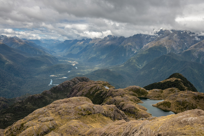 Lake Mantle and the Hollyford River below. Skippers Range, Fiordland National Park.