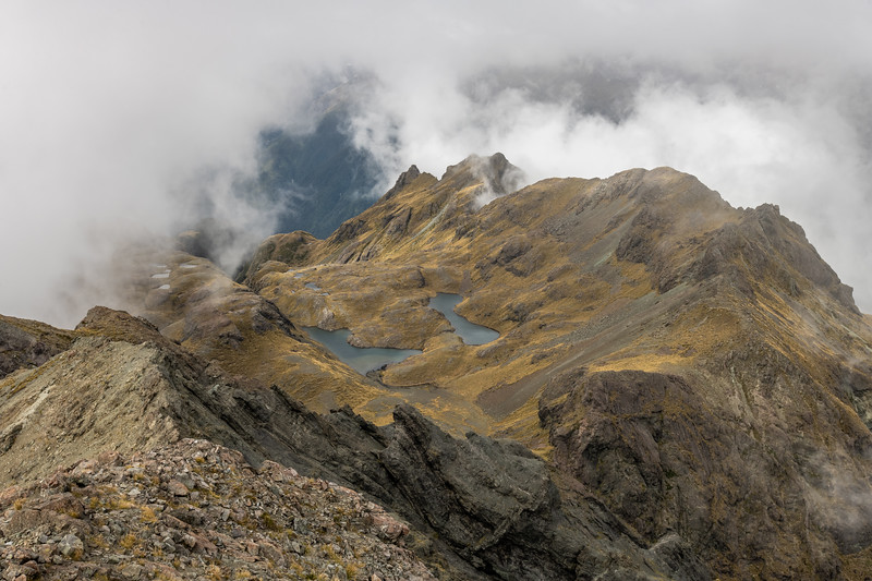 View South from Pt 1552m. Skippers Range, Fiordland National Park.