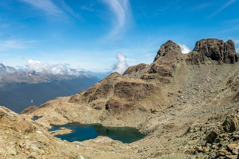 Pt 1636m and the lake below Skippers Range High Point. Fiordland National Park.
