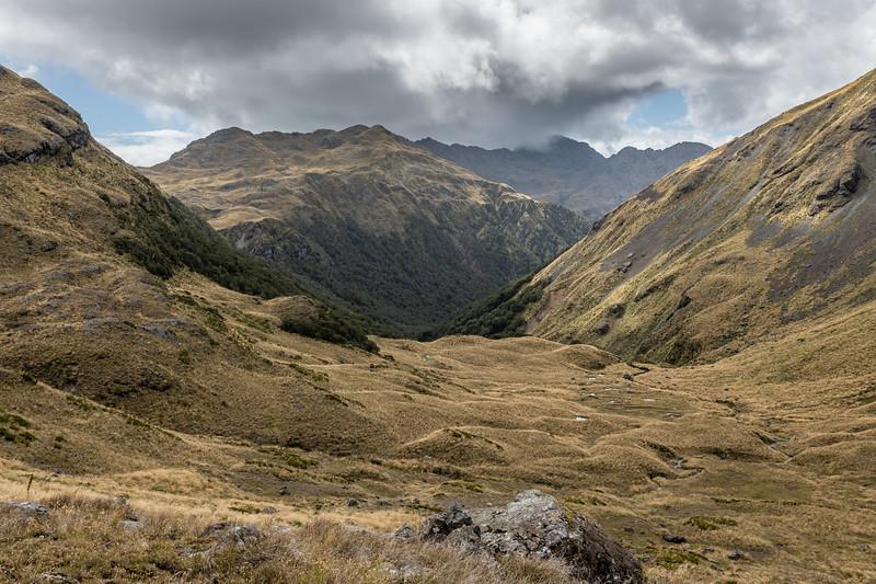 Alpine basins north of Pt 1552m. Skippers Range, Fiordland National Park.
