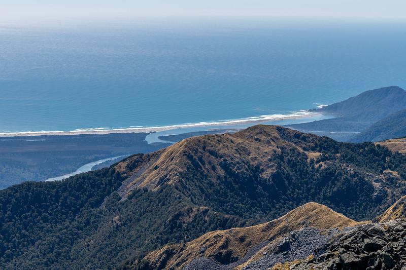 Martins Bay, Hollyford River and Mount Webb from Pt 1507m. Skippers Range, Fiordland National Park.