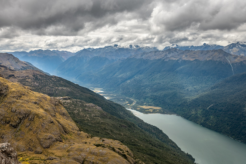 Lake Alabaster and Pyke River from the Skippers Range. Fiordland National Park.