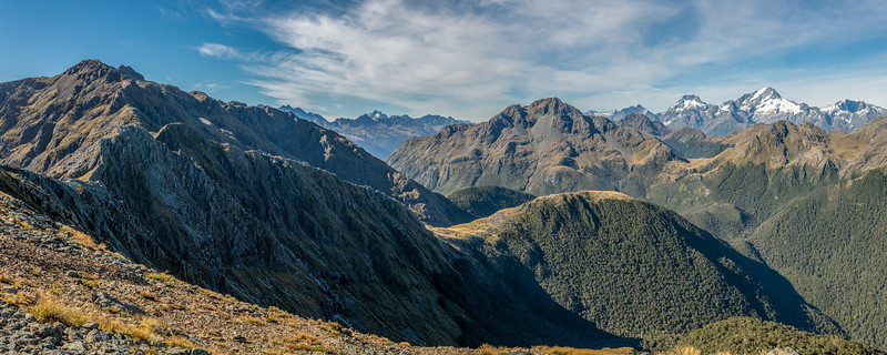 Looking south-west over the Skippers range from Pt 1401m.  Fiordland National Park.
