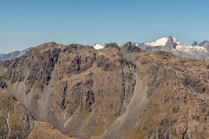Skippers Range High Point (on the far left) from Pt 1507m. Gyrae, Ark and The Tower are in the background. Fiordland National Park.