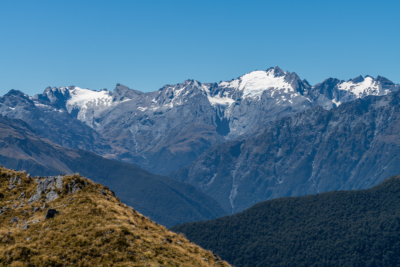 View of the Olivines from Slip Hill. Skippers Range, Fiordland National Park.