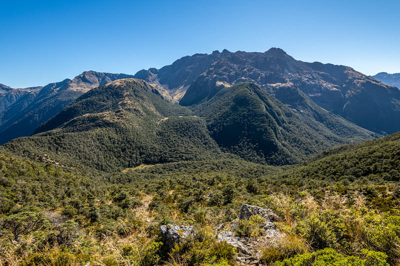 Looking back up towards the Skippers Range's High Point. Fiordland National Park.