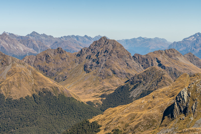 Pt 1552m from Pt 1507m, Skippers Range. Humboldt and Ailsa Mountains in the background. Fiordland National Park.
