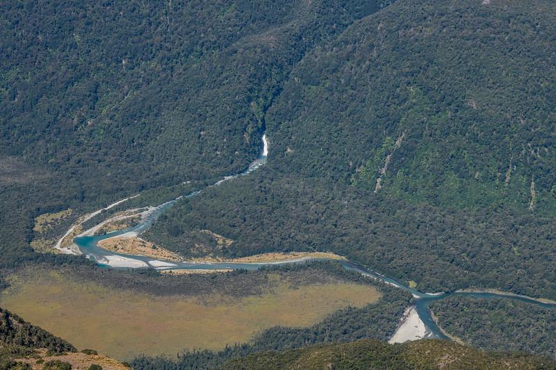 Olivine River and Olivine Falls from Skippers Range High Point. Fiordland National Park.