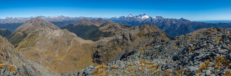 Panorama from Pt 1507m. Skippers Range, Fiordland National Park.