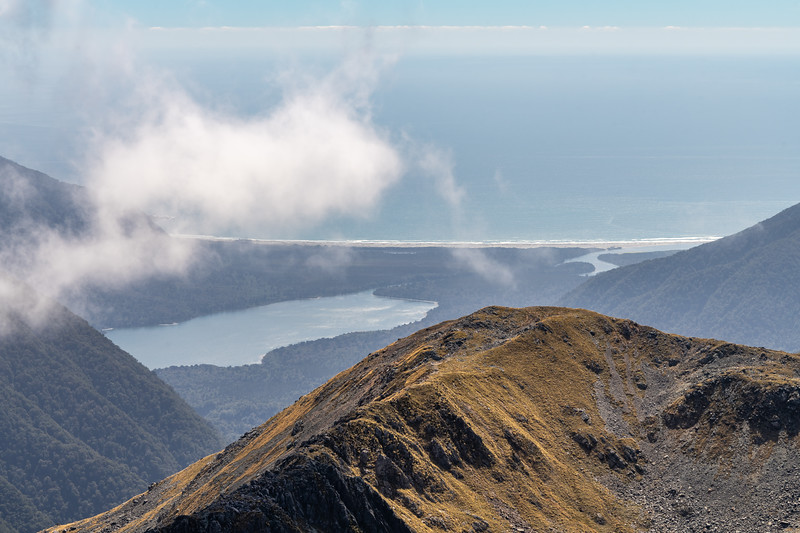 View from Skippers Range High Point: Lake McKerrow and Martins Bay. Skippers Range, Fiordland National Park.