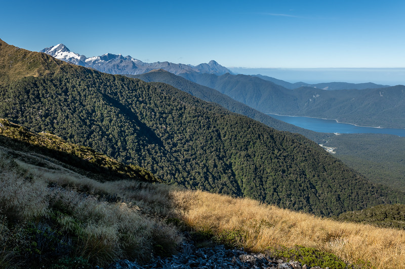 View from Slip Hill: Mt Tutoko, Mt Parariki and Kaipo Wall, Mt Pembroke, Lake McKerrow. Skippers Range, Fiordland National Park.