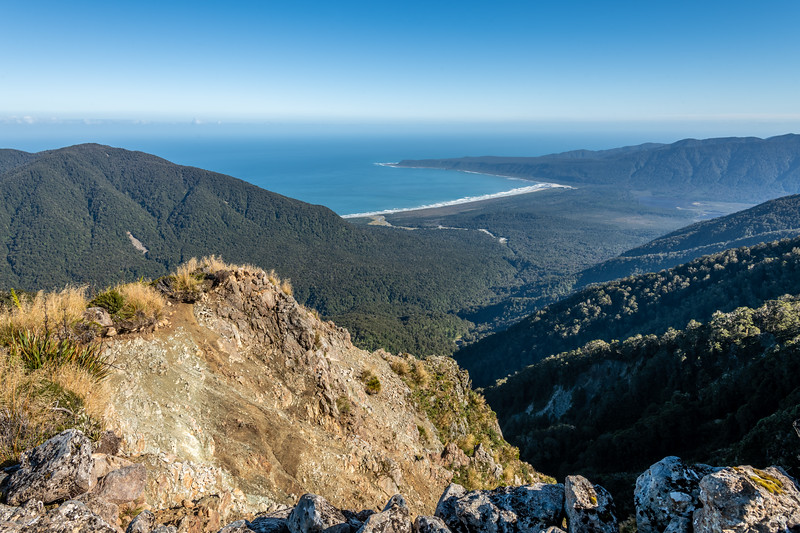 View of Big Bay and Awarua Point from the top of the slip on Slip Hill. Skippers Range, Fiordland National Park.