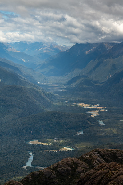 View up the Hollyford River from the Skippers Range. Fiordland National Park.