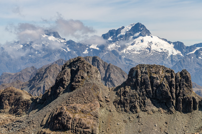 Mount Madeline and Mount Tutoko from Skippers Range High Point. Fiordland National Park.