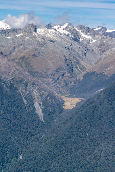 View up Diorite Stream from Skippers Range High Point. Alexander and McClimont Peak above. Skippers Range, Fiordland National Park.