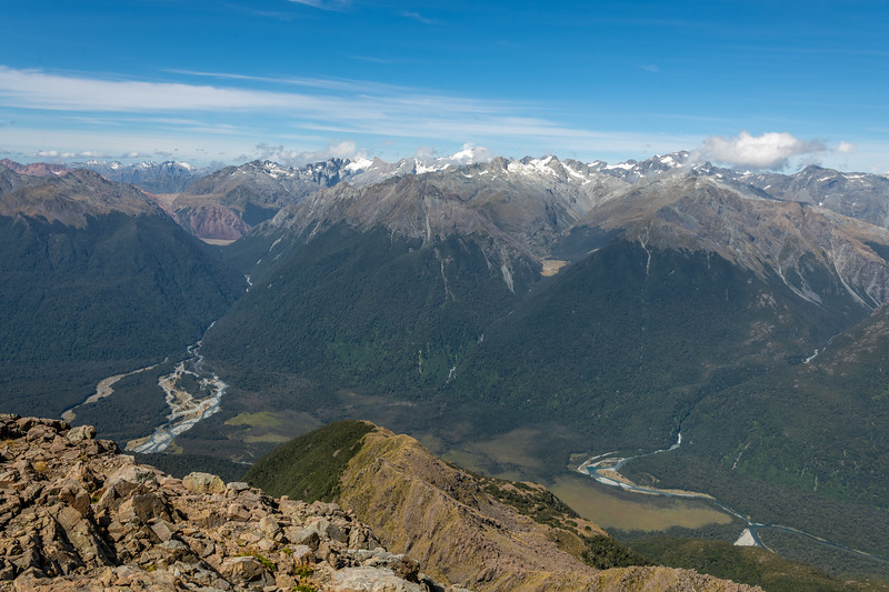 Barrier River, Diorite Stream and Olivine River from Skippers Range High Point, Fiordland National Park.