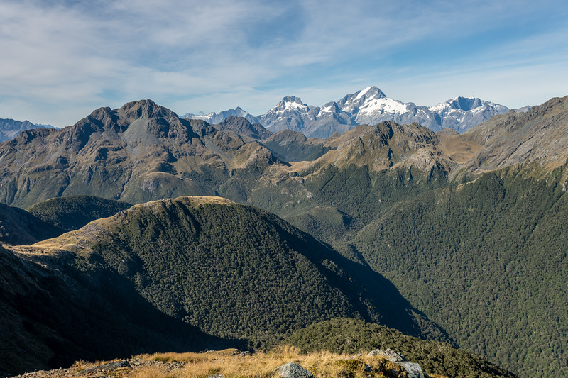Looking south-west over the Skippers range from Pt 1401m. Mts te Wera, Madeline and Tutoko are at centre image; the Kaipo Wall is on the right. Fiordland National Park.