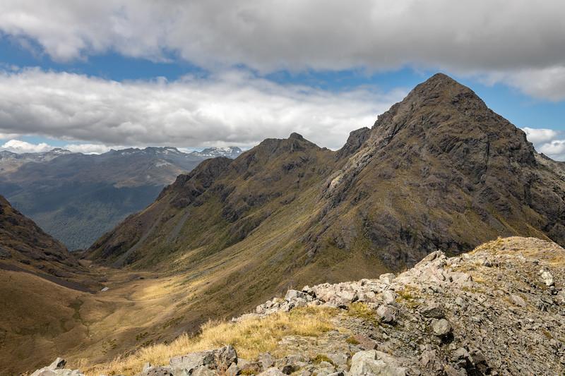 Pt 1552m from Pt 1307m. Skippers Range, Fiordland National Park.