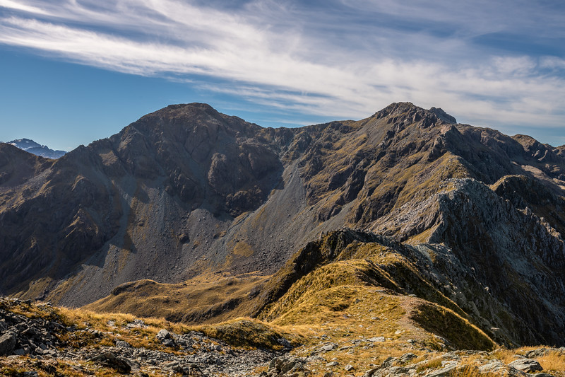 Skippers Range High Point (Pt 1648m) and Pt 1619m from Pt 1401m. Fiordland National Park.
