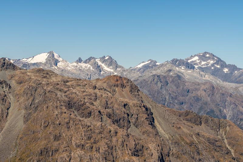 Ark, The Tower, McClimont Peak, Passchendaele Peak and Climax Peak from Pt 1507m. Skippers Range, Fiordland National Park.