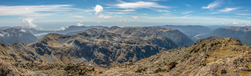 Looking back over the northern end of the Skippers Range from Skippers Range High Point. Lake Mckerrow, Sara Hill and Martins Bay are in the background on the left; the Pyke River is on the far right. Fiordland National Park.