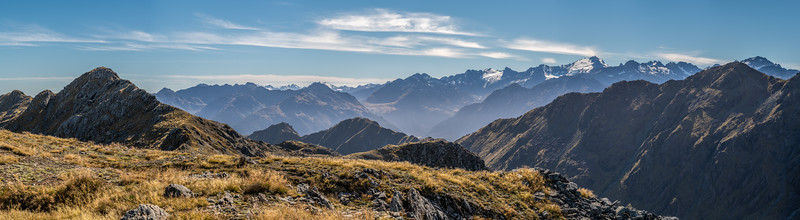 Panorama from Pt 1401m, Skippers Range, looking east. Fiordland National Park.