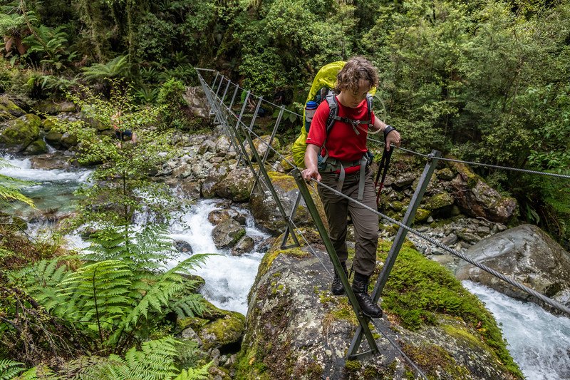 3-wire crossing on the Demon Trail. Hollyford Track, Fiordland National Park.