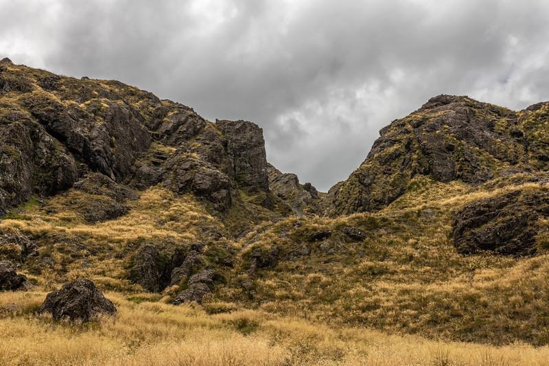 Gorge feeding into Lake Mantle. Skippers Range, Fiordland National Park.