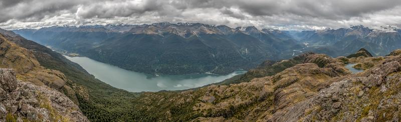 Lake Alabaster, Pyke River, Hollyford River and Lake Mantle. Skippers Range,  Fiordland National Park.
