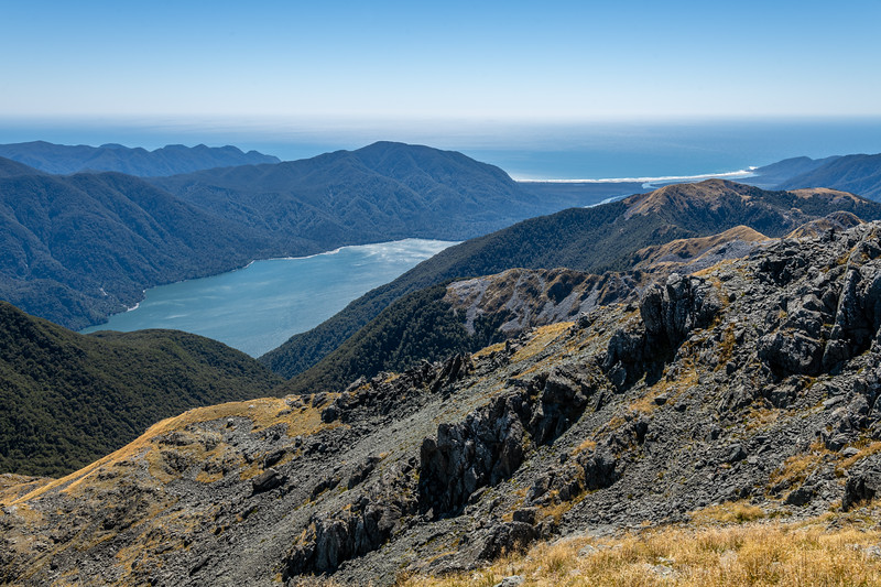 View of Lake McKerrow and Martins Bay from Pt 1507m. Skippers Range, Fiordland National Park.