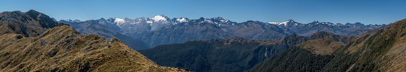View of the Olivine Ranges from the northern end of the Skippers Range, Fiordland National Park.
