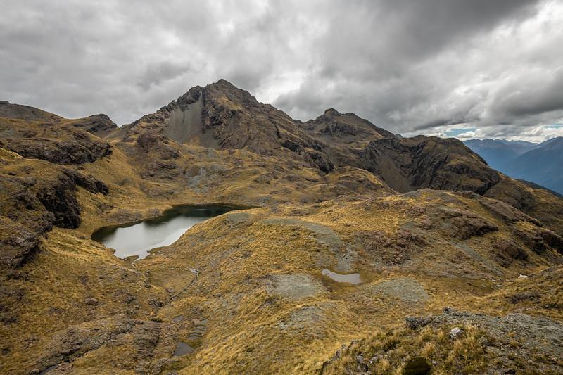 Looking back up to Pt 1552m. Skippers Range, Fiordland National Park.