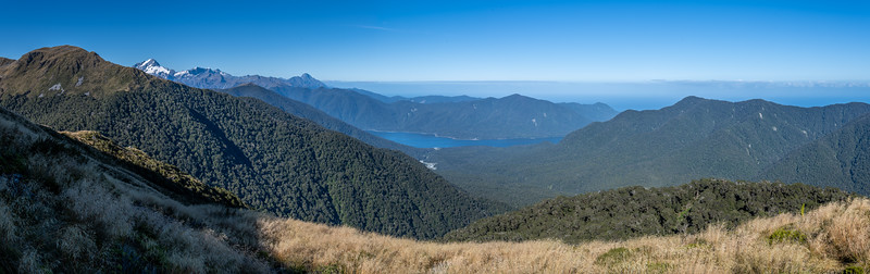 View from Slip Hill: Mt Tutoko, Mt Parariki and Kaipo Wall, Mt Pembroke, Lake McKerrow. Sara Hill is on the far right. Skippers Range, Fiordland National Park.